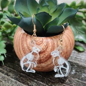 Acrylic bunny rabbit skeleton anatomy earrings